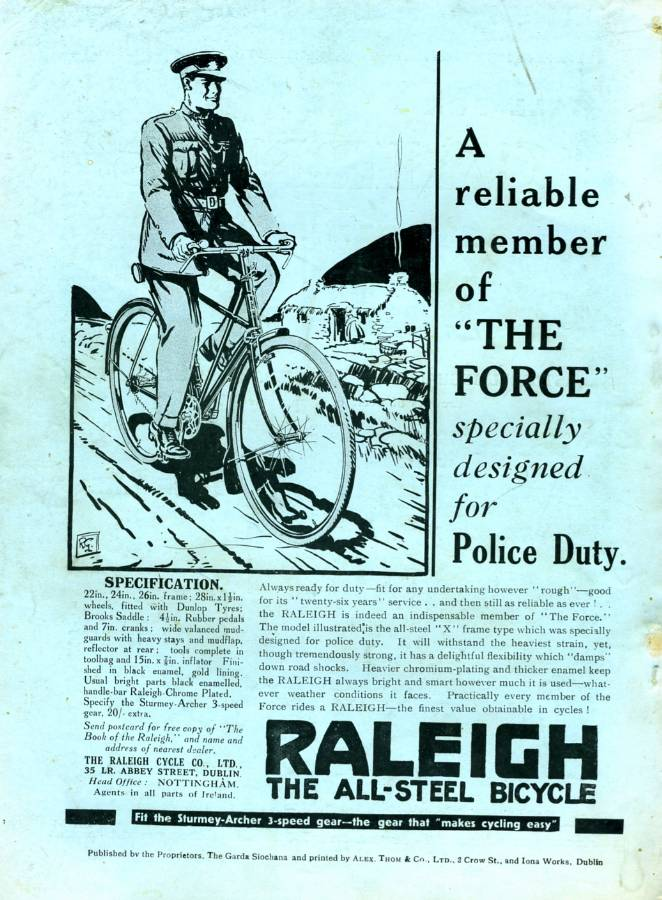 "August 1933 'Raleigh' Bicycles 'A reliable Member of ""The Force"" advert - Click on the image to enlarge."