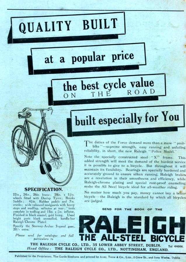 March 1933 'Raleigh' Bicycles  advert - Click on the image to enlarge