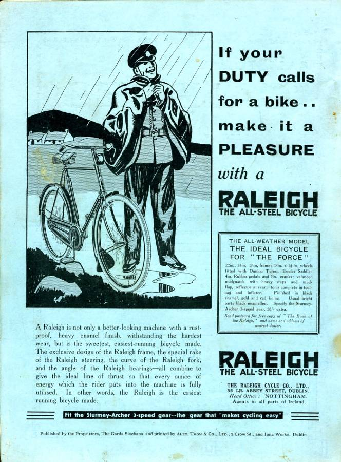 1934 'Raleigh' Bicycles 'The Ideal Bicycle for the Force' advert - Click on the image to enlarge.